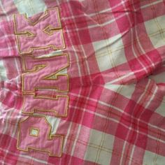 Victoria secret pijama pants In new condition, pink and white plaid with pink spelled on the back, satin ribbon tie front Victoria's Secret Intimates & Sleepwear Pajamas