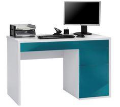 Bureau design blanc et bleu-pétrole ultra-brillant Bonino