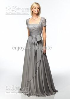 Wholesale Custom-MadeFashion Short Sleeves Chiffon Column Mother of the bride Dresses, Free shipping, $121.59/Piece | DHgate