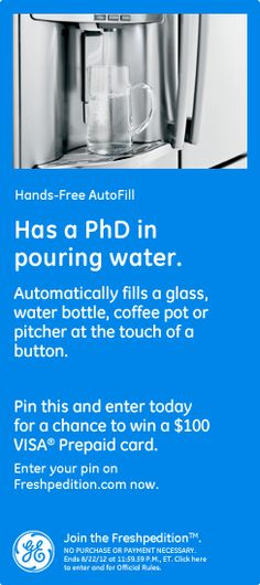 Hands-Free AutoFill has a PhD in pouring water. Automatically fills a glass, water bottle, coffee pot or pitcher at the touch of a button. #GEFreshMI
