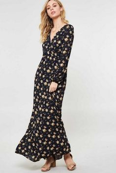 Navy Blue Floral Boho Maxi Dress – Nova & Knox