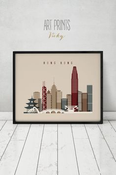 Hong Kong wall art print Poster China cityscape by ArtPrintsVicky