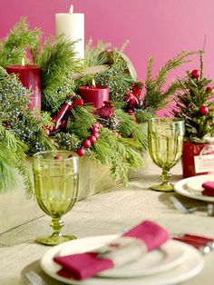More Festive Ideas. Love the greens with candles and the small Christmas tree