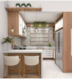 46 Wonderful Modern And Sophisticated Kitchen Design Ideas Cosy Kitchen, Kitchen Room Design, Kitchen Cabinet Design, Home Decor Kitchen, Kitchen Interior, Kitchen Ideas, Cuisines Diy, Cuisines Design, Moraira