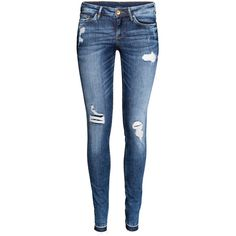 H&M Super Skinny Low Ripped Jeans ($44) ❤ liked on Polyvore featuring jeans, pants, bottoms, pantalon, denim blue, ripped jeans, blue jeans, skinny fit jeans, skinny leg jeans and distressed skinny jeans