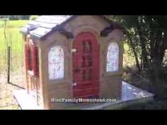 Playhouse Chicken Coop DIY video. Upcycle an old playhouse into a home for your chickens.