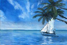 "'Fishing Voyage' by Andrew Keola | $250 | 36""w x 24""h | Original Art | https://www.arttwo50.com/buy/art/fishing-voyage"