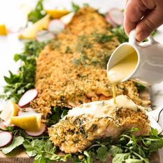 BAKED PARMESAN CRUSTED SALMON WITH LEMON CREAM SAUCE http://www.recipesfeedfood.com/baked-parmesan-crusted-salmon-with-lemon-cream-sauce-2/