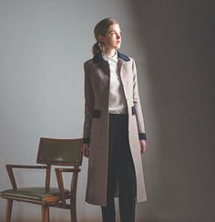 Contrast coat, by Katherine Hooker at Storie, Paris. Fittings for her custom made coats will be held in Storie on 11/12/13 Oct 2013