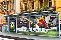 To promote the English #Premier #League, special bus shelter displays released the scent of grass and the sound of cheering stadiums #Foxtel
