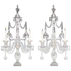 Superb Pair of George III Period Cut-Glass Candelabra by William Parker.