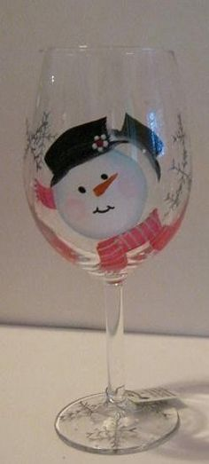 Classic Snowman with Silver Snowflakes Hand Painted by jennifer347, $10.00