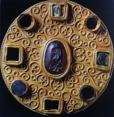 Langobardic disk brooch. Castel Trosino, Italy. The Lombards (Langobardi), were a Germanic speaking people who settled in Italy in the 6th century CE