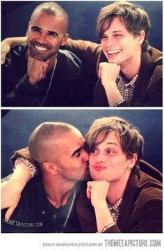 Matthew Gray Gubler and Shemar Moore (Spencer Reid ans Derek Morgan from Criminal Minds) ♥♥♥ Reid Criminal Minds, Criminal Cast, Dr Spencer Reid, Dr Reid, Matthew Gray Gubler, Matthew Grey, Thomas Gibson, Cutest Picture Ever, Crimal Minds