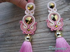 Ridgways / Pink/Gold - tassels...soutache Soutache Necklace, Tassel Earrings, Great Gifts For Women, Gifts For Her, Bracelet Knots, Polymer Clay Charms, Beaded Embroidery, Handmade Necklaces, Boho Jewelry