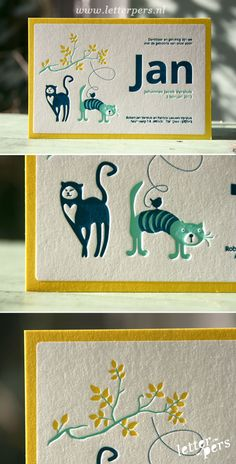 letterpers_letterpress_geboortekaartje_Jan_poezen_katten