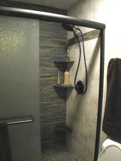 Wonderful Open Shower Bathroom Design With Glass Cabinet : Open Shower Bathroom Design With White Closet And Blackshower And Ceramic Tile Fl...