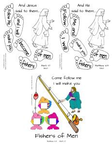 Follow Me - Verse coloring page and craft for Matthew 4:19 and Mark 1:17 (follow me....fishers of men).