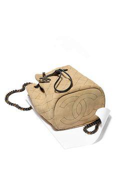 Drawstring bag, suede calfskin, ruthenium & gold metal-beige & black - CHANEL