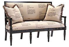 Sofa, script fabric