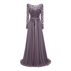 Dresstells® Long Jewel Prom Dress Beaded Sleeved Evening Party Gown:... ($180) ❤ liked on Polyvore featuring dresses, gowns, holiday party dresses, purple evening gowns, prom gowns, evening gowns and purple evening dresses
