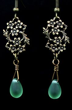 Antiqued brass earrings with luscious green briolette