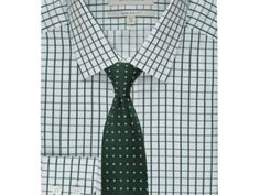MEN'S WHITE & GREEN GRID CHECK EXTRA SLIM FIT SHIRT – SINGLE CUFF WAS £49.50   NOW £17.95 http://tidd.ly/579ff789