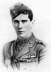 Mick Mannock, Britain's leading fighter ace of the First World War, with 61 victories. As the war progressed, he became haunted by nightmares that he would die in a 'flamerino' - when an aircraft caught fire. Pilots were not allowed parachutes, so they would have to go down in their burning aircraft. Mannock died in a 'flamerino' in July 1918, a few months before the end of the war.