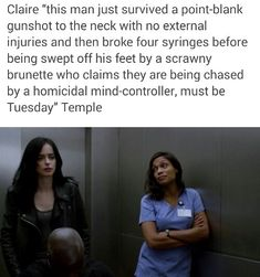 We love you Claire Temple, a very welcome character cross-over. I really appreciated her interactions with both Jessica and Marcus #jessicajones
