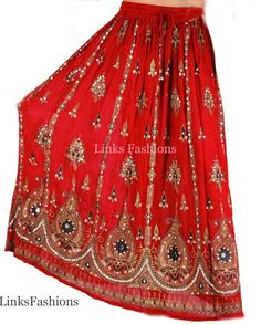 Ladies Indian Party Boho Gypsy Hippie Long Indian Sequin Skirt Rayon Red Skirt | eBay
