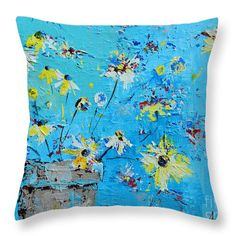 Interior Designer Art Throw Pillow featuring the painting Spring Flowers modern accents for your home decor by Patricia Awapara