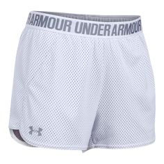 The Under Armour Women's Playup Mesh Shorts is built with Soft & super-breathable allover mesh construction