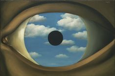 "The False Mirror  René Magritte (Belgian, 1898-1967)    Le Perreux-sur-Marne, 1928. Oil on canvas, 21 1/4 x 31 7/8"" (54 x 80.9 cm). Purchase. © 2012 C. Herscovici, Brussels / Artists Rights Society (ARS), New York  133.1936"