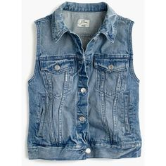 J.Crew Denim Vest (181 AUD) ❤ liked on Polyvore featuring outerwear, vests, denim waistcoat, pocket vest, denim jacket vest, blue jean jacket and blue denim vest