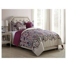 Transport yourself to exotic, far off places with this gorgeous, global-inspired comforter set. Available in two colors, this reversible comforter features an exquisitely detailed paisley pattern on one side and a two-tone leaf pattern on the other—two stunning styles for one great value. Made of soft, durable microfiber, the comforter is perfectly paired with two shams (one sham for Twin/Twin XL) and two decorative pillows for a complete boho-chic look you'll love.