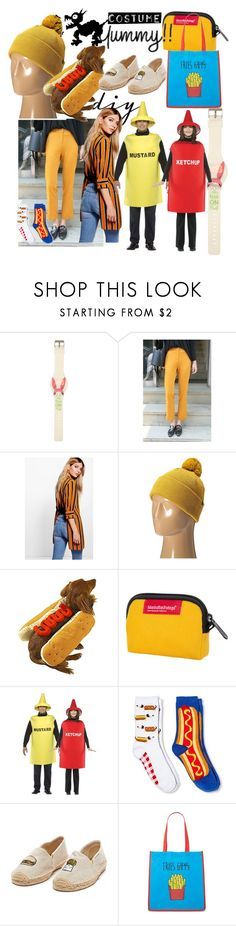 """""""my Dad's favorite condiment"""" by lerp ❤ liked on Polyvore featuring Boohoo, Coal, Manhattan Portage, Davco, Soludos, Forever 21, halloweencostume and DIYHalloween"""