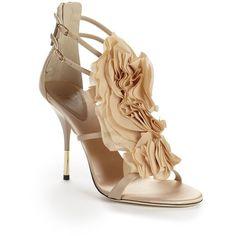 Giuseppe Zanotti Chiffon Ruffle High Heel Sandals ($499) ❤ liked on Polyvore