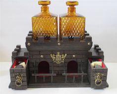 Vtg Wooden Castle Bar S Sper Bijou Liquor Chest Decanter Shot Glass Set #1271