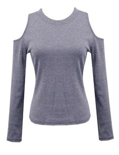 Sexy Women Off Shoulder Long Sleeve Knitted Sweater Solid Skinny Slim Sweater
