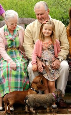 The Danish Royal Family pose for a family portrait at their summer residence, Grasten Palace, July 22, 2012. Queen Margrethe, Prince Consort Henrik and Princess Isabella