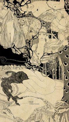 art-and-fury:   Night,in the necksalty beads (inspired in Franz von Bayros) -Svetlana Dorosheva (lattona)