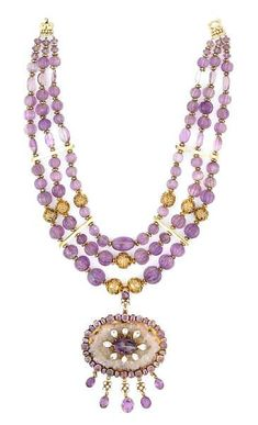 Tony Duquette A bead carved, sliced and faceted amethyst and vermeil necklace