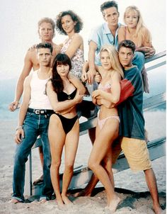 The original cast of 90210 - 90's TV Show. Wow look at those high cut bikini bottoms!