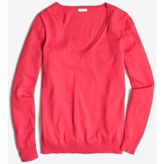 J.Crew Cotton V-neck sweater ($30) ❤ liked on Polyvore featuring tops, sweaters, long sleeve v neck sweater, red top, cotton v neck sweater, long sleeve v neck top and cotton sweaters
