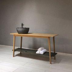 DIN έπιπλο μπάνιου ή κονσόλα σε δρυ,με ράφι σε φυσικό πέτρωμα ή μάρμαρο. Ανακαλυψτε τη νέα σειρα οικιακού κ ξενοδοχειακού επιπλου στις εκθέσεις μας // DIN bathroom furniture in oak wood and natural stone surface #thedesigngroup #furniture #furnituredesign #design #custommade #madeingreece #greekproducts #greekproduction #bathroom #console #wood #natural #minimal #simplicity #interiors #interiordesign #decoration #home #homedesign #homefurniture #hotel #hotfurniture #contract #kaloterakis…