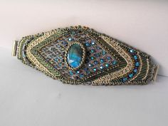 Icy breeze    Bead Embroidery Bracelet   Blue  Silver  by Vicus