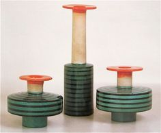 Not exactly vessels.... beautiful form and color Ettore Sottsass ceramics 1958