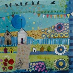 """Jackie Lakely -- click through to her site -- great!  """"Neighborhood 1"""" - mixed media on board"""