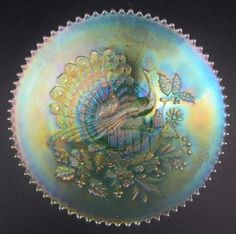 PEACOCKS-SPLENDID-SCARCE-NORTHWOOD-Ice-Green-Carnival-Glass-9-Plate