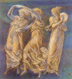 Pre Raphaelite Art: Three Female Figures Dancing and Playing - Edward Burne Jones Figure Drawing Female, Male Figure, Edward Burne Jones, Pre Raphaelite, Art Database, Portraits, Beautiful Paintings, Art Reproductions, Art Drawings
